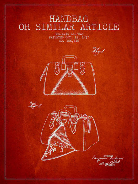 Handbags Wall Art - Digital Art - Handbag Or Similar Article Patent From 1937 - Red by Aged Pixel
