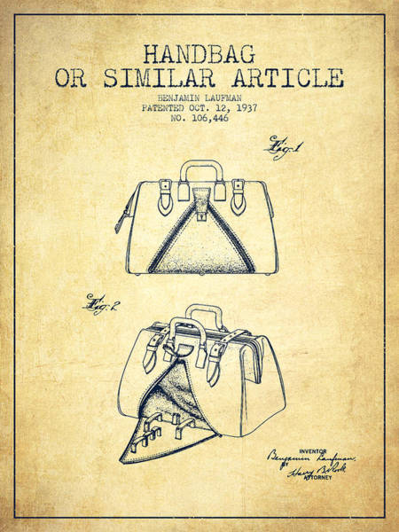 Pouch Wall Art - Digital Art - Handbag Or Similar Article Patent From 1937 - Vintage by Aged Pixel