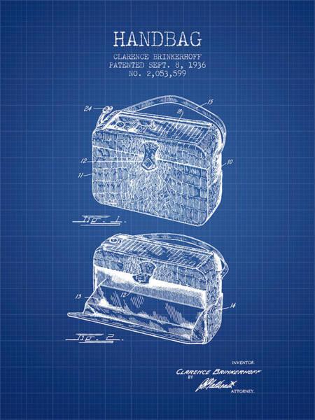 Wallet Wall Art - Digital Art - Handbag Patent From 1936 - Blueprint by Aged Pixel