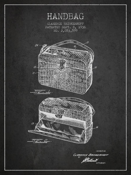 Pouch Wall Art - Digital Art - Handbag Patent From 1936 - Charcoal by Aged Pixel