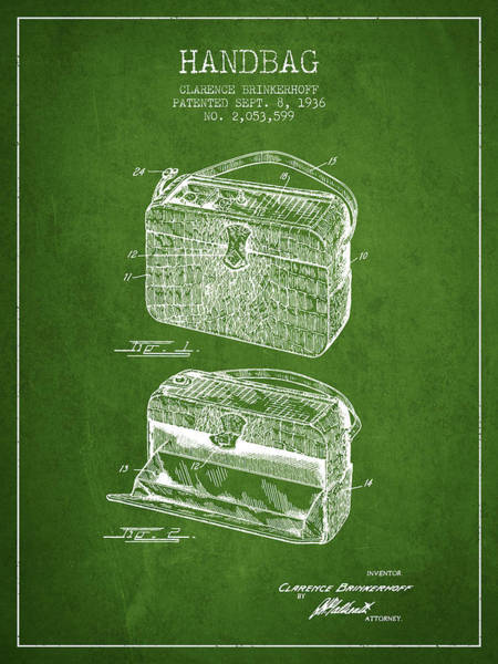 Pouch Wall Art - Digital Art - Handbag Patent From 1936 - Green by Aged Pixel