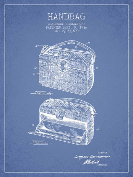 Wallet Wall Art - Digital Art - Handbag Patent From 1936 - Light Blue by Aged Pixel