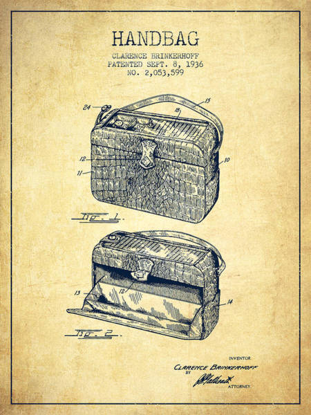 Pouch Wall Art - Digital Art - Handbag Patent From 1936 - Vintage by Aged Pixel