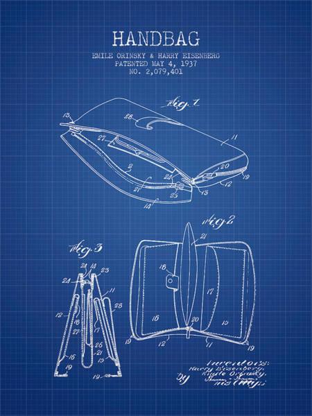 Wallet Wall Art - Digital Art - Handbag Patent From 1937 - Blueprint by Aged Pixel