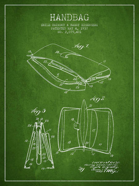 Pouch Wall Art - Digital Art - Handbag Patent From 1937 - Green by Aged Pixel