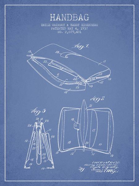 Wallet Wall Art - Digital Art - Handbag Patent From 1937 - Light Blue by Aged Pixel