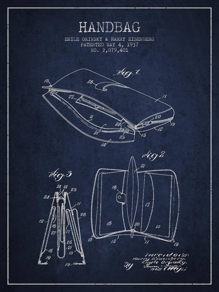 Pouch Wall Art - Digital Art - Handbag Patent From 1937 - Navy Blue by Aged Pixel