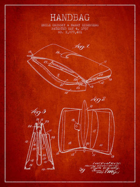 Pouch Wall Art - Digital Art - Handbag Patent From 1937 - Red by Aged Pixel