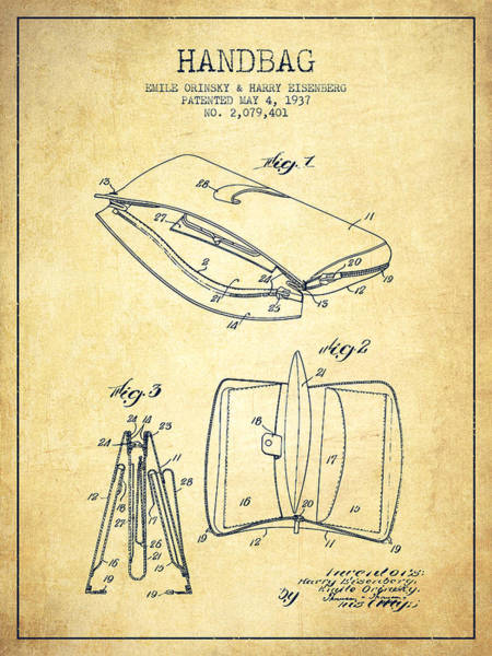 Pouch Wall Art - Digital Art - Handbag Patent From 1937 - Vintage by Aged Pixel