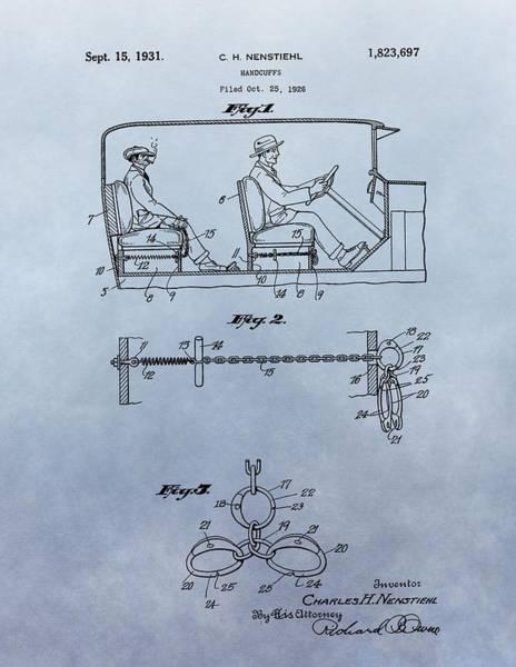 Digital Art - Handcuffs Law Enforcement Patent by Dan Sproul