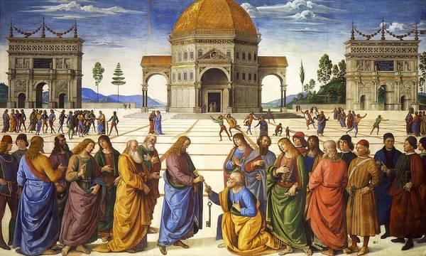 Apostolic Palace Wall Art - Painting - Handing Over Of The Keys by Pietro Perugino