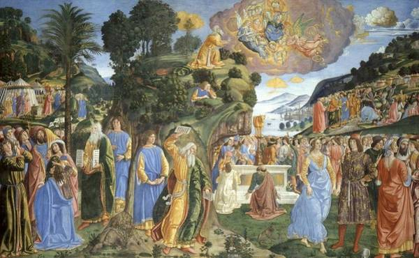 Apostolic Palace Wall Art - Painting - Handing Over Of The Tablets Of The Law by Cosimo Rosseli