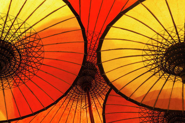 Bagan Photograph - Handmade Oriental Umbrellas, Bagan by Peter Adams