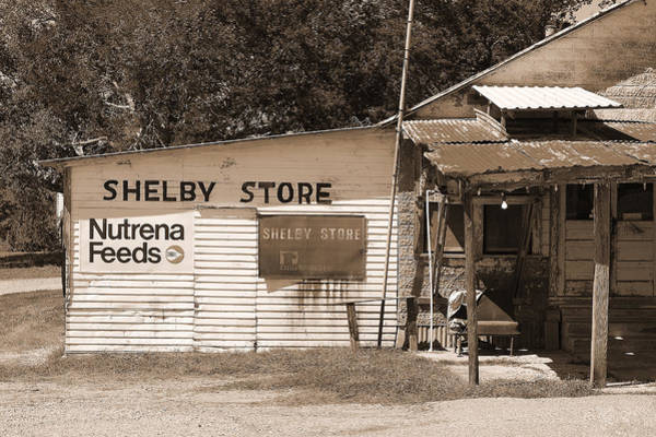 Wall Art - Photograph - Handpainted Sign Shelby Store  by Connie Fox