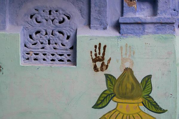 Wall Art - Photograph - Handprints On A Wall In Jodhpurs Blue by Steve Winter