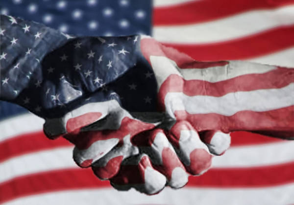 Usa Flag Photograph - Handshake Melded With American Flag by Sherry H. Bowen Photography