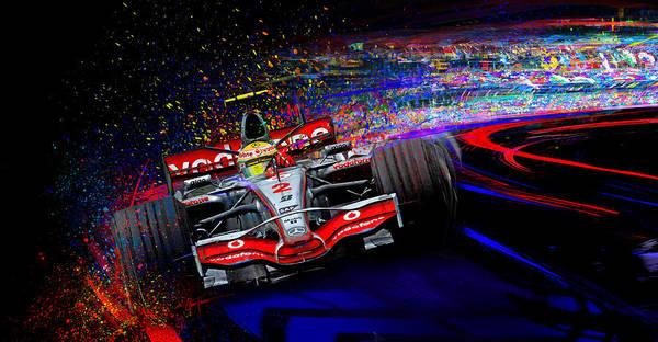 Formula One Digital Art - Hang A Lewy by Alan Greene