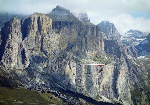 Hanged Photograph - Hang Glider In The Dolomites by Cordelia Molloy