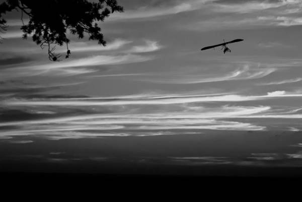 Photograph - Hang Gliding At Sunset Bw by George Taylor