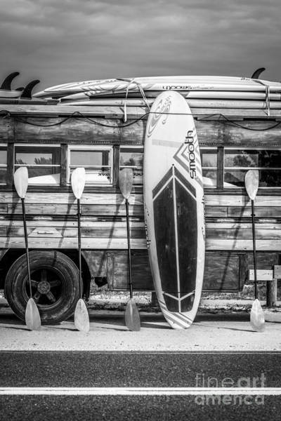Longboard Photograph - Hang Ten - Vintage Woodie Surf Bus - Florida - Black And White by Ian Monk