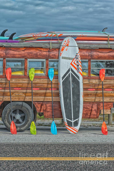 Longboard Photograph - Hang Ten - Vintage Woodie Surf Bus - Florida by Ian Monk