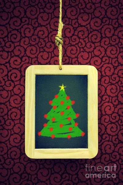 Wall Art - Photograph - Hanged Xmas Slate - Tree by Carlos Caetano