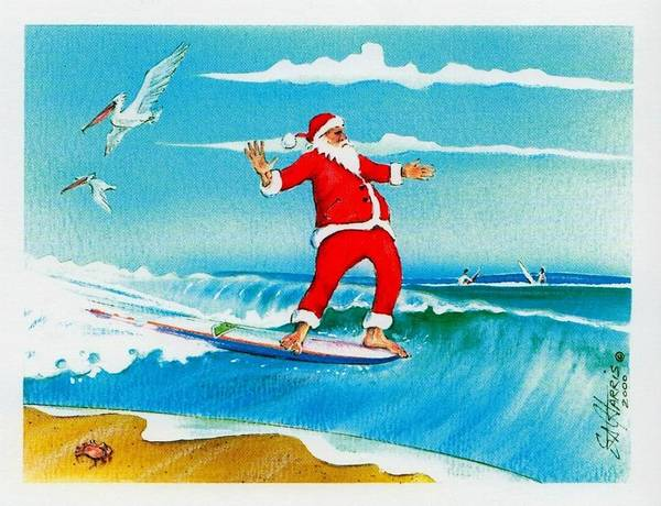 Steve Harris Wall Art - Painting - Hanging Five Is Santa's Jive by Steve Harris