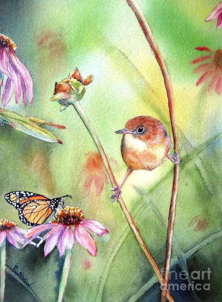 Coneflower Painting - Hanging In There by Patricia Pushaw