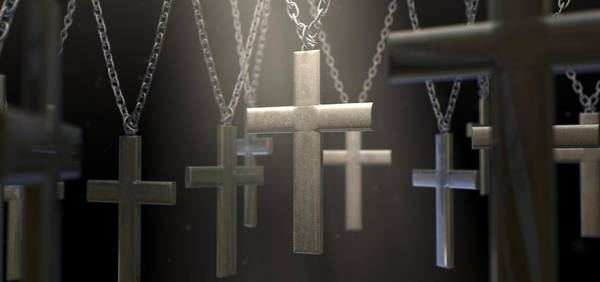 Divine Digital Art - Hanging Metal Crucifixes  by Allan Swart