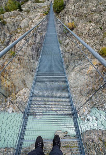 Photograph - Hanging Suspension Bridge Massaschlucht Swiss Alps Switzerland by Matthias Hauser
