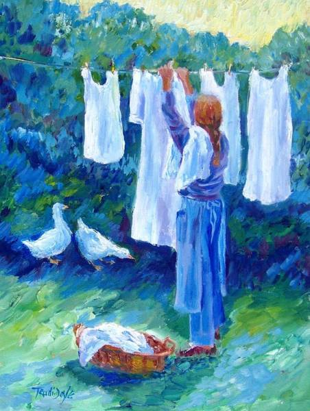 Linen Wall Art - Painting - Hanging The Whites  by Trudi Doyle
