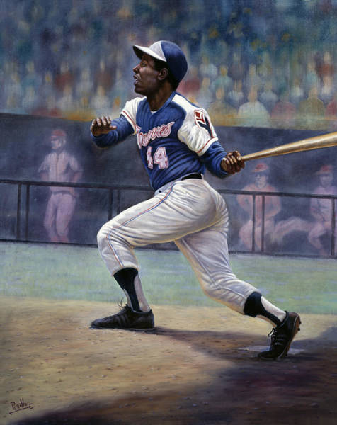 Jackie Robinson Wall Art - Painting - Hank Aaron by Gregory Perillo