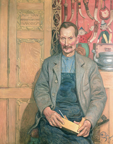 Mustache Painting - Hans Arnbom The Carpenter by Carl Larsson