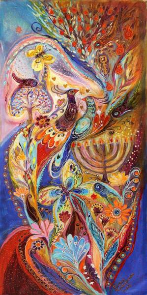 Kabbalistic Wall Art - Painting - Hanukkah In Magic Garden by Elena Kotliarker