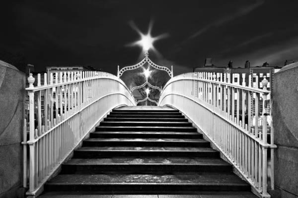 Photograph - Ha'penny Bridge Steps - Dublin - Black And White by Barry O Carroll