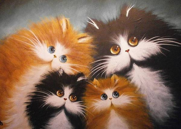 Fat Cat Painting - Happ Family by Alan Brunt