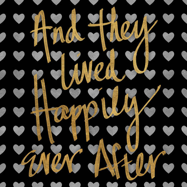 Text Wall Art - Digital Art - Happily Ever After Pattern by South Social Studio