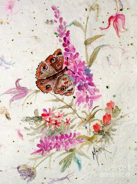 Buckeye Butterfly Wall Art - Painting - Happiness Is A Butterfly by Marilyn Smith