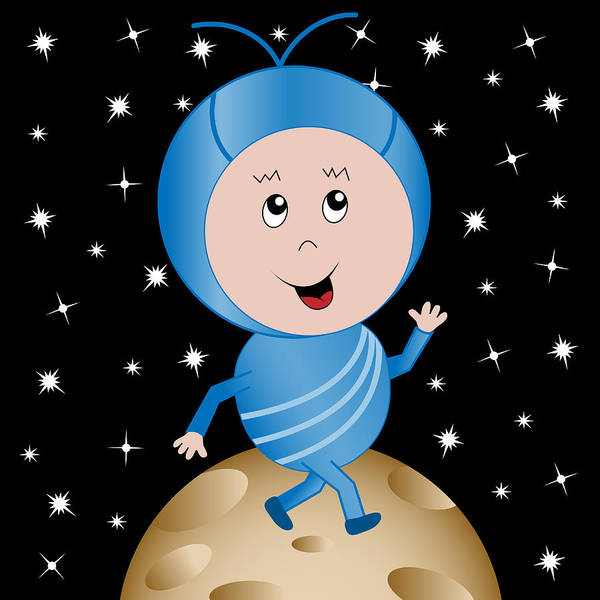 Little Planet Digital Art - Happy Alien In Outer Space Cartoon Character by Toots Hallam