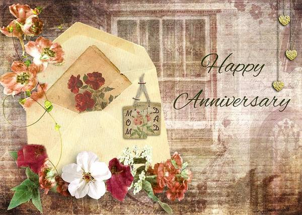 Love Wall Art - Mixed Media - Happy Anniversary Mom And Dad by Paula Ayers
