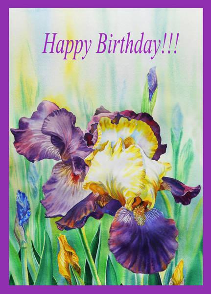 Painting - Happy Birthday Iris Flowers by Irina Sztukowski