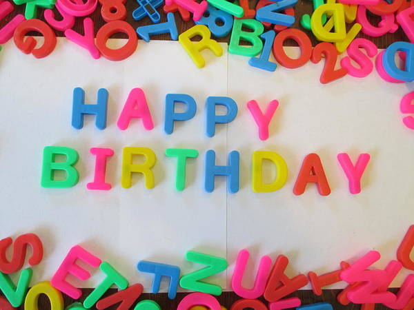 Wall Art - Photograph - Happy Birthday - Magnetic Letters by David Lovins