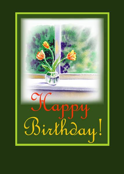 Painting - Happy Birthday Tulip Bunch by Irina Sztukowski