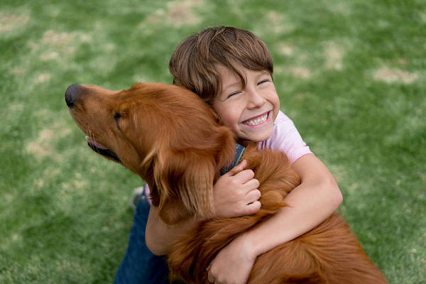 Happy Boy With A Beautiful Dog Art Print by Andresr