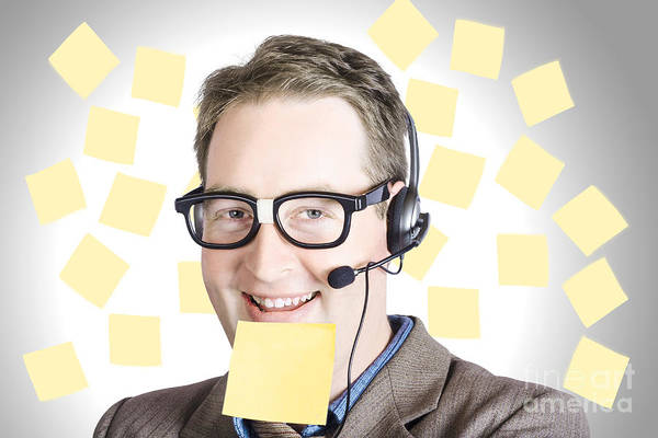 Support Photograph - Happy Business Man Wearing Helpdesk Headset by Jorgo Photography - Wall Art Gallery