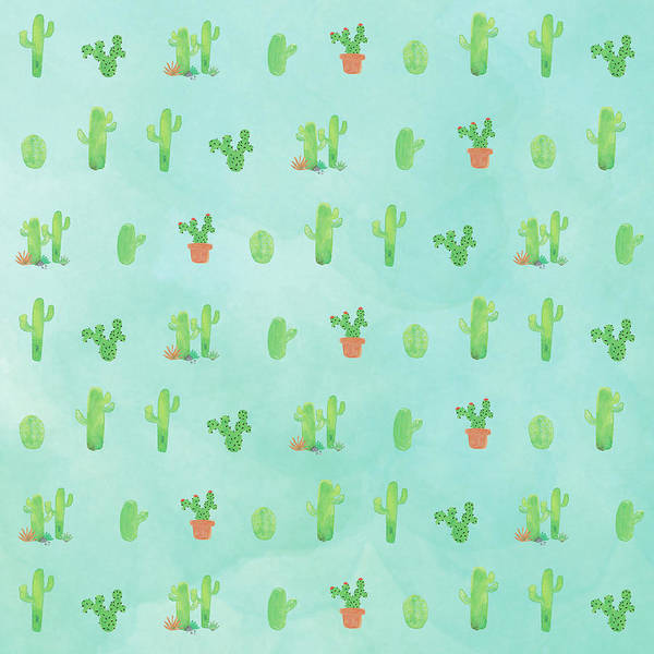 Wall Art - Painting - Happy Cactus - Blue by Tammy Apple