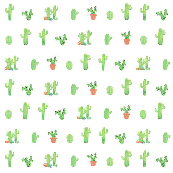 Wall Art - Painting - Happy Cactus - White by Tammy Apple