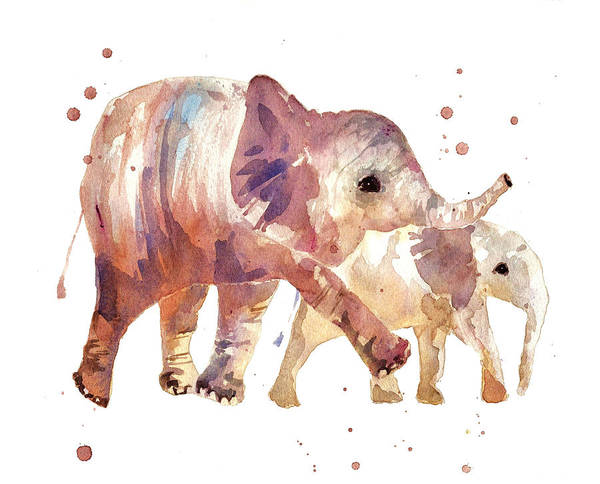 Wall Art - Painting - Happy Days Elephants by Alison Fennell