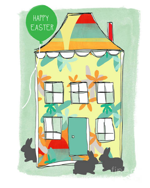 Rabbits Painting - Happy Easter Card by Linda Woods