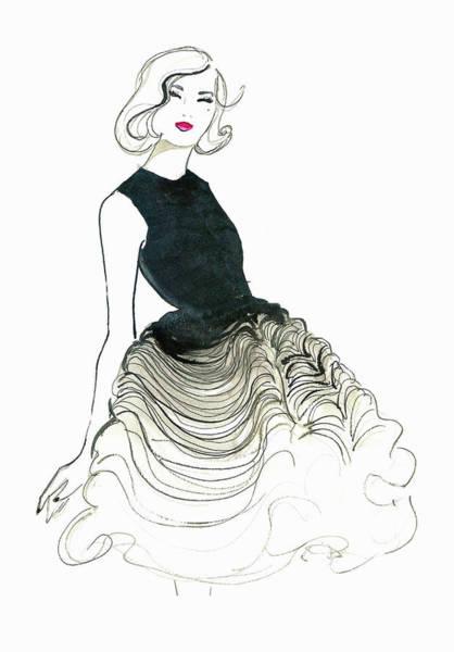 Evening Wear Digital Art - Happy Elegant Woman Wearing Ruffled by Jessica Durrant